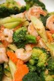 Thai healthy food stir-fried broccoli with shrimp Stock Images