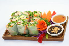 Thai Healthy Rolls. With dipping sauces Royalty Free Stock Photography