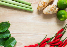 Thai Herb. Group of fresh Thai herb on wooden background royalty free stock photos