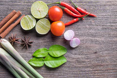 Thai herb ingredients. Of spicy Tom Yum royalty free stock photo
