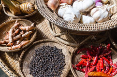 Thai herb spices ingredients set Royalty Free Stock Photography