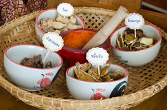 Thai herbal medicine in bamboo basket Stock Image