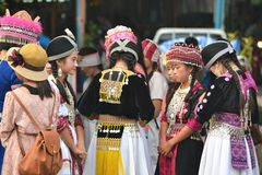 Thai Hill Tribe Girls. Were dressed up with native dress. Northern Thailand royalty free stock images