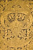 Thai history pattern. Pattern siam culture on the door in wat thai Royalty Free Stock Photography