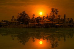 Thai Home at Riverside of Chaopraya River. Stock Photo