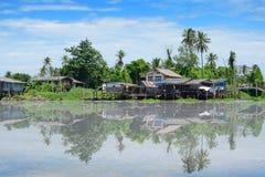 Thai Home at Riverside of Chaopraya River. Stock Photos