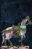 Thai horse art made by pearl on granite wall Royalty Free Stock Photo