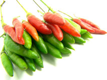 Thai hot chili. Thai chili, also called Thai hot pepper, is a small pepper well known for its extremely hot spiciness Stock Image