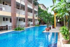 Thai Hotel Pool View Royalty Free Stock Photos
