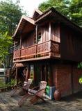 Thai house building architecture & patio Royalty Free Stock Photos