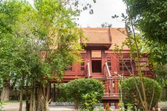 Thai house built from wood is popular for Thai people both past and present. In Thailand royalty free stock photography