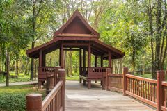 Thai house built from wood is popular for Thai people both past and present. In Thailand stock image