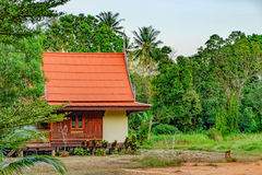 Thai house with palm trees Stock Photo