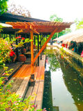 Thai house shelter at canalside Stock Image