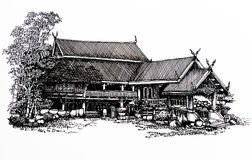 Thai house : sketch Stock Photography
