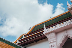 Thai house in thai temple with blue sky Stock Images