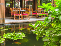 Thai house in a tropical garden Stock Image