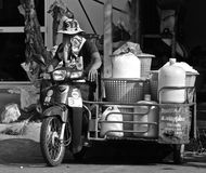 Thai ice delivery man stock photos