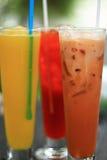 Thai ice tea and  Fresh fruit smoothie. Dessert Royalty Free Stock Image