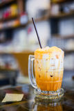 Thai iced tea in glass stock images