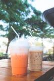 Thai iced tea and iced coffee with milk Stock Image
