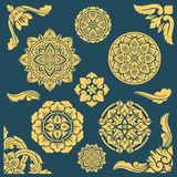 Thai, indian and persian ethnic decorative vector patterns and frames stock illustration