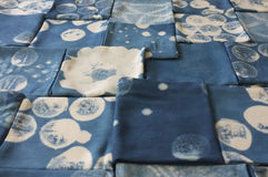 Thai indigo natural dye , Color shade and texture of fabric from blue indigo natural dye. Concept fashion royalty free stock images
