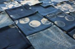 Thai indigo natural dye , Color shade and texture of fabric from blue indigo natural dye. Concept fashion stock image