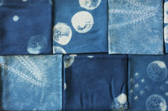 Thai indigo natural dye , Color shade and texture of fabric from blue indigo natural dye Royalty Free Stock Images