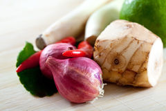 Thai ingredients, galangal, lime  and chili Royalty Free Stock Image