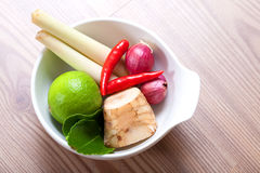Thai ingredients, galangal, lime and chili royalty free stock photo