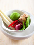 Thai ingredients, galangal, lime  and chili Royalty Free Stock Photos