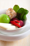 Thai ingredients, galangal, lime  and chili Royalty Free Stock Images
