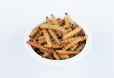 Thai Insects, Fried insects mealworms for snack. Royalty Free Stock Photo