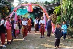 Thai Isan wedding culture Native style at Buriram Thailand Stock Photo