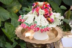 Thai jasmin wedding garland. Thai traditional jasmin wedding garland in a wedding ceremony Royalty Free Stock Image