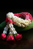 Thai Jasmine Garland. A Thai Style Flower Garland made of Jasmine and Roses royalty free stock images