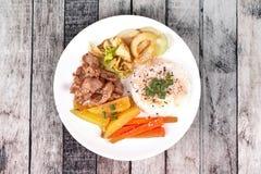 Thai jasmine rice in American korean style, Rice with sliced por Stock Photos