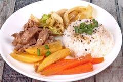 Thai jasmine rice in American korean style, Rice with sliced por Stock Image