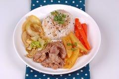 Thai jasmine rice in American korean style, Rice with sliced por Royalty Free Stock Image
