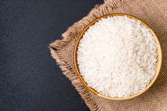 Thai jasmine rice. White raw Thai jasmine rice stock photos
