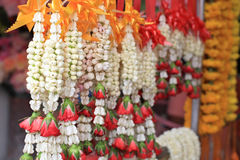 Thai jasmine and rose garland for pray Royalty Free Stock Images