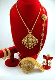 Thai jewelry made from gold and gray diamond. Royalty Free Stock Image