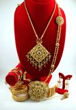 Thai jewelry made from gold and ruby. Royalty Free Stock Images