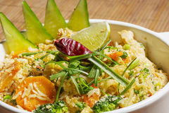 Thai Khao Pad - special fried rice with mixed vegetables,egg an Stock Photo