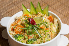 Thai Khao Pad - special fried rice with mixed vegetables, egg and thai seasoning sauce Stock Images