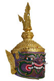 Thai Khon head mask in Puple Giant Face, called Maiyarap, The giant king of the underworld. Stock Photos