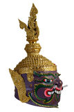 Thai Khon head mask in Puple Giant Face, called Maiyarap, The giant king of the underworld. Royalty Free Stock Photos