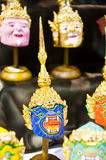 Thai khon mask. BANGKOK - MAY 3 : Khon, Native Thai style mask, use in royal performance at Art Fund on May 3, 2013 in Bangkok, Thailand royalty free stock photos