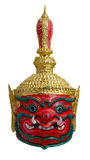 Thai khon red Giant mask  Called Thao wastsuwan, Giant head adloussopy of Headed giant Ravana, Udorn Guardian, Guardians of Buddhi Stock Images